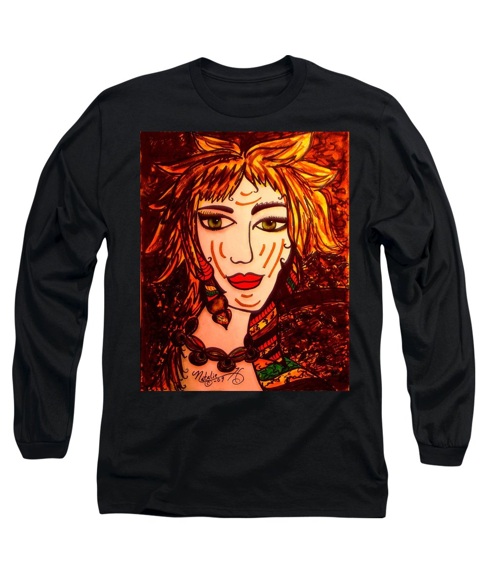 Woman Long Sleeve T-Shirt featuring the painting Female Animal by Natalie Holland