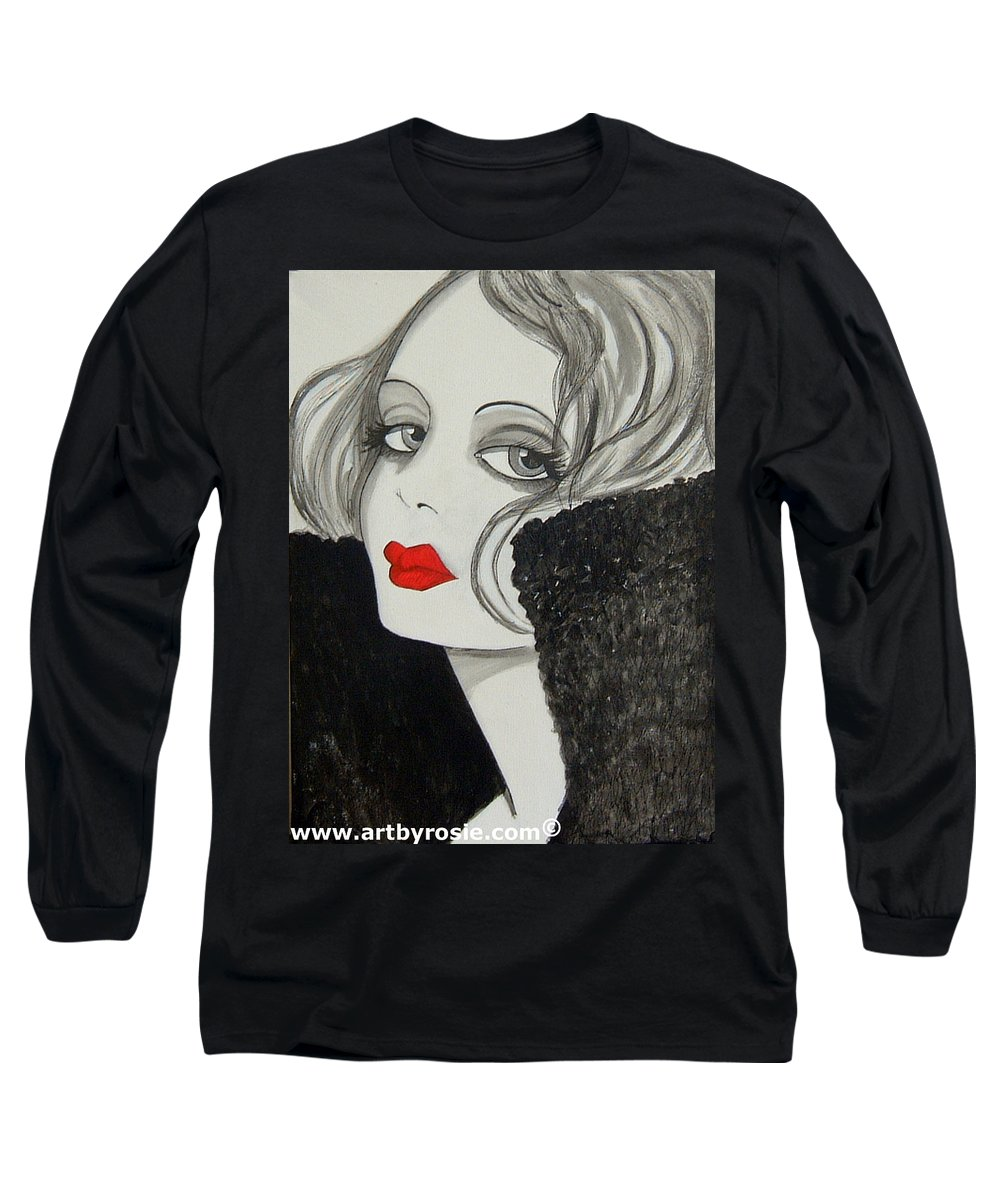 Cinema Long Sleeve T-Shirt featuring the painting Femme Fatale by Rosie Harper