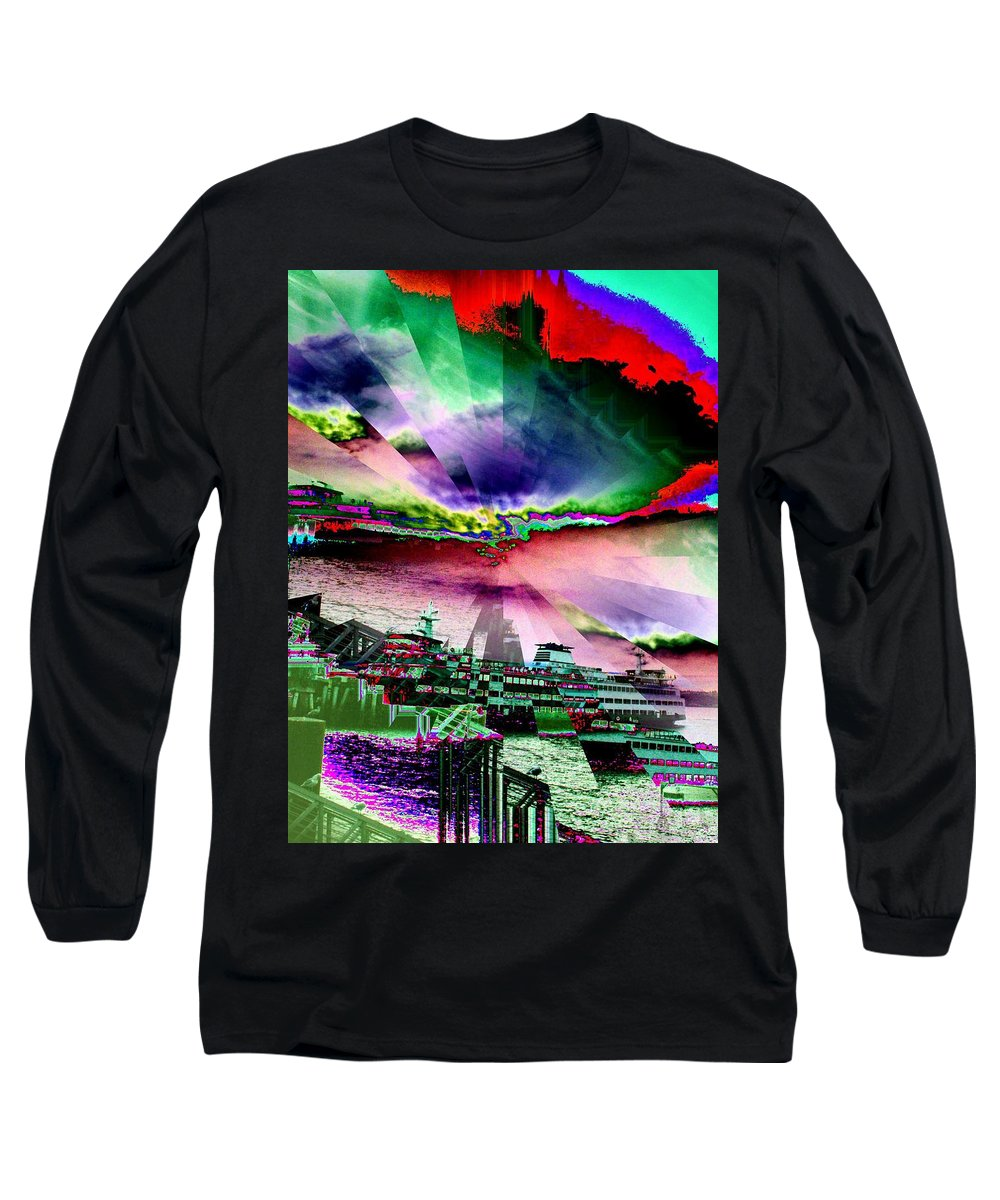 Seattle Long Sleeve T-Shirt featuring the digital art Ferry Illusion by Tim Allen