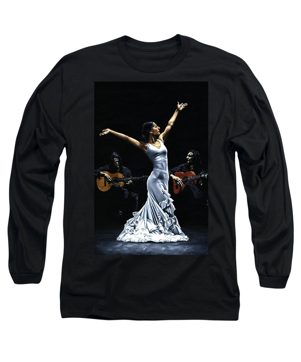 Flamenco Long Sleeve T-Shirt featuring the painting Finale Del Funcionamiento Del Flamenco by Richard Young