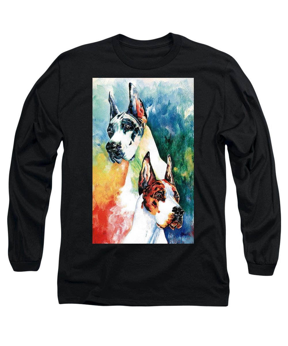 Great Dane Long Sleeve T-Shirt featuring the painting Fire And Ice by Kathleen Sepulveda