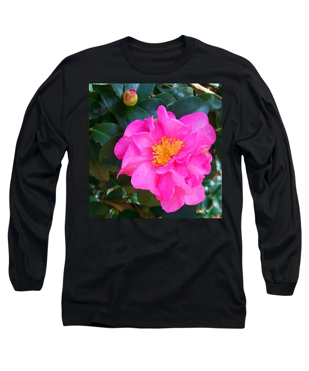 Camelia Long Sleeve T-Shirt featuring the photograph Firey Pink Camelia by Laurie Paci