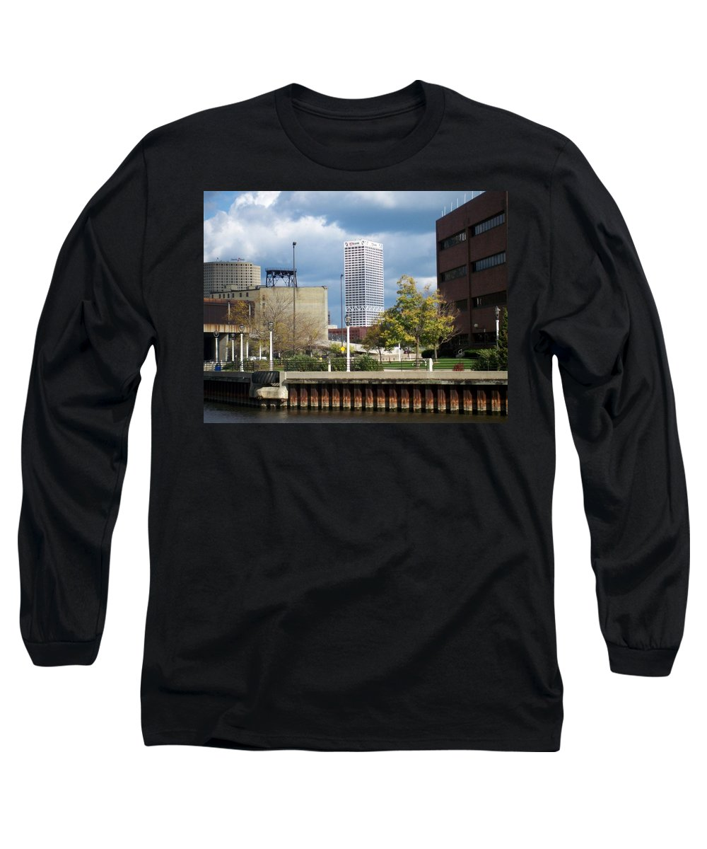 First Star Bank Long Sleeve T-Shirt featuring the photograph First Star View From River by Anita Burgermeister