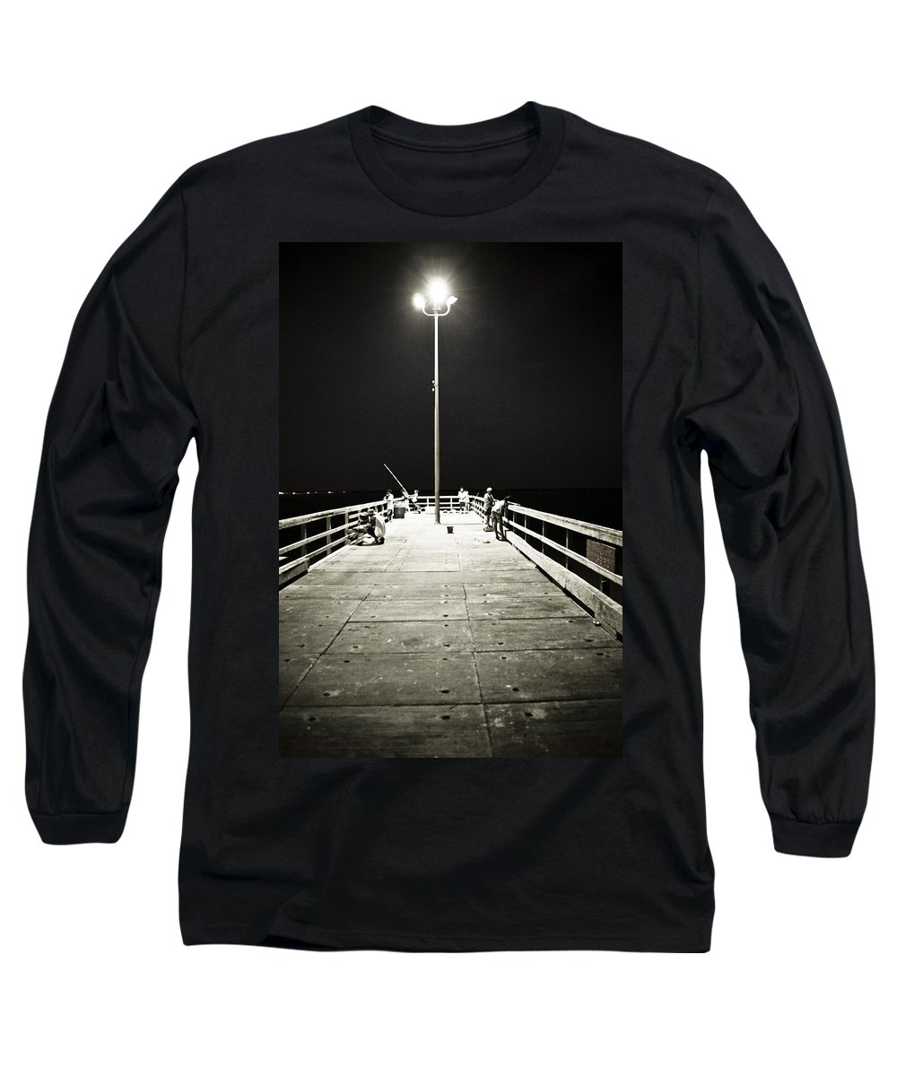 Americana Long Sleeve T-Shirt featuring the photograph Fishing At Night by Marilyn Hunt