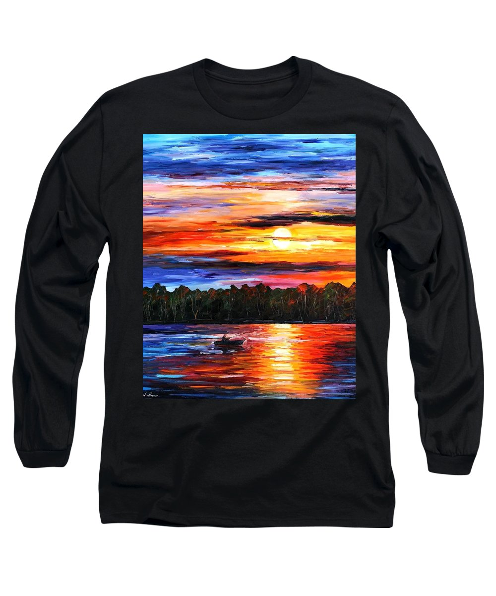 Seascape Long Sleeve T-Shirt featuring the painting Fishing By The Sunset by Leonid Afremov