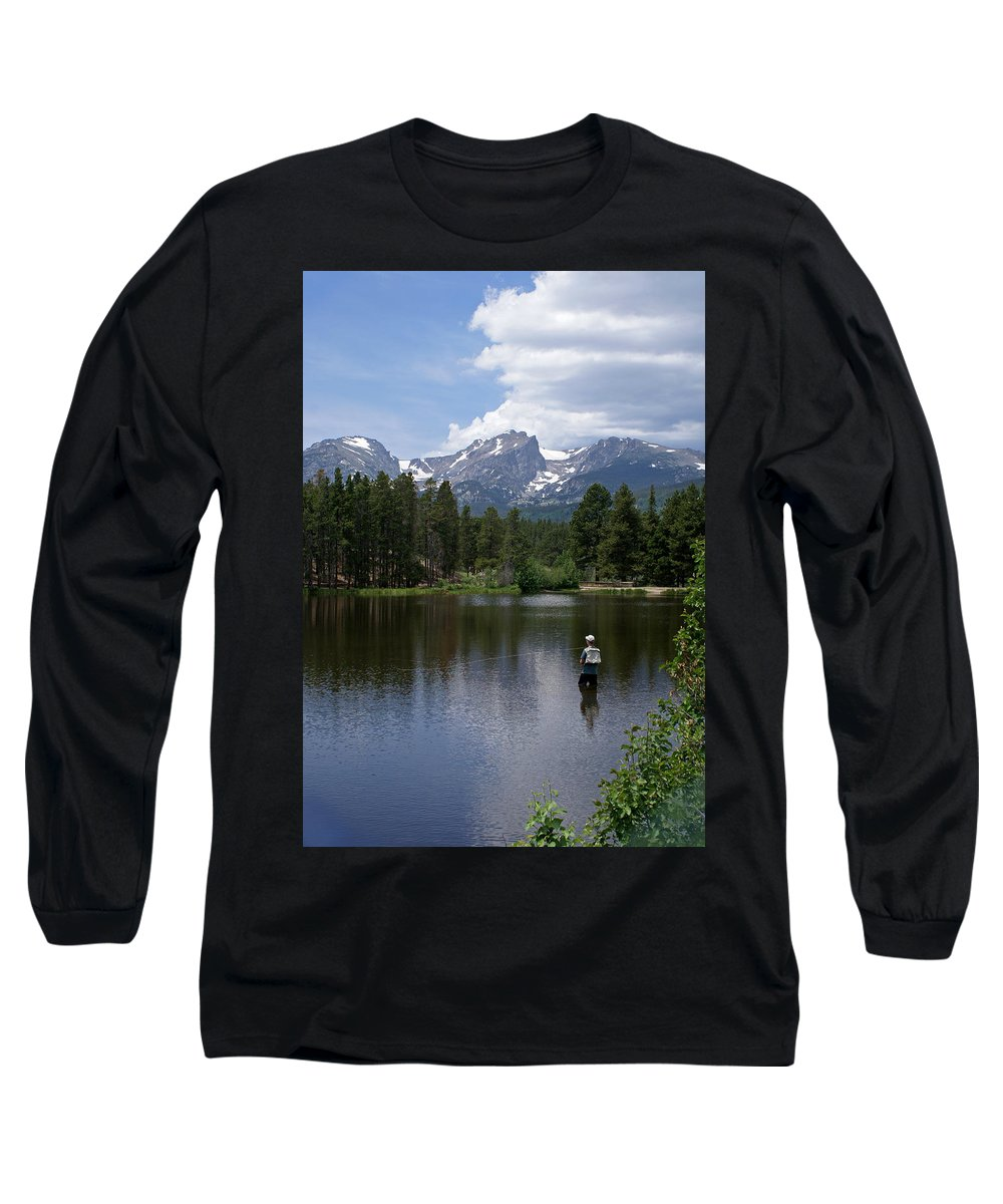 Fishing Long Sleeve T-Shirt featuring the photograph Fishing In Colorado by Heather Coen