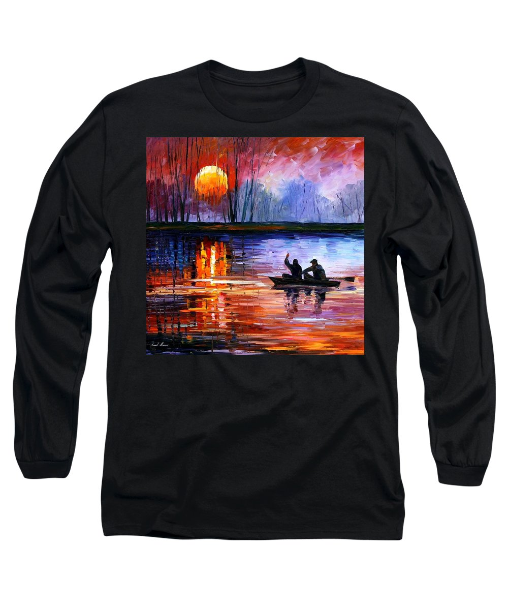 Seascape Long Sleeve T-Shirt featuring the painting Fishing On The Lake by Leonid Afremov