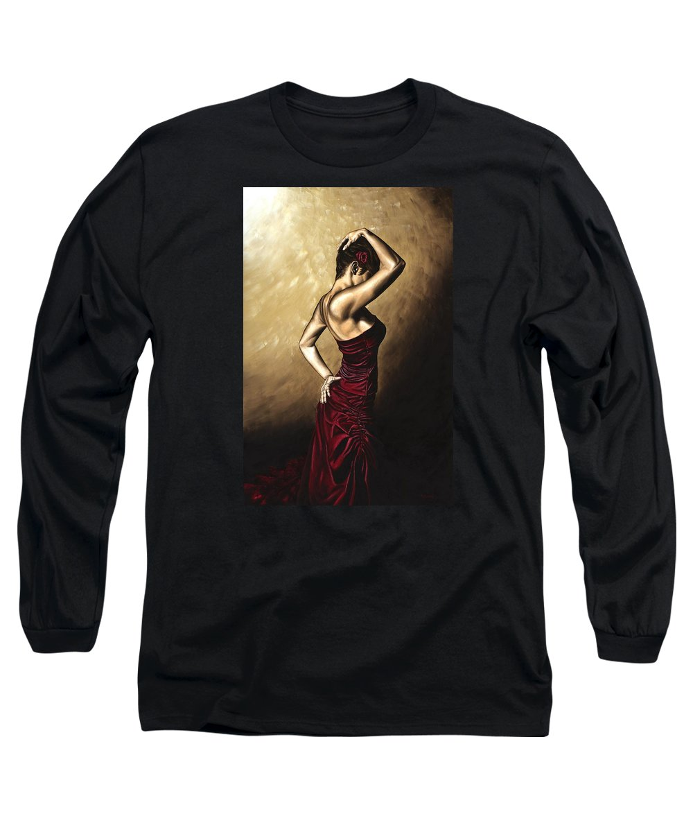 Flamenco Long Sleeve T-Shirt featuring the painting Flamenco Woman by Richard Young