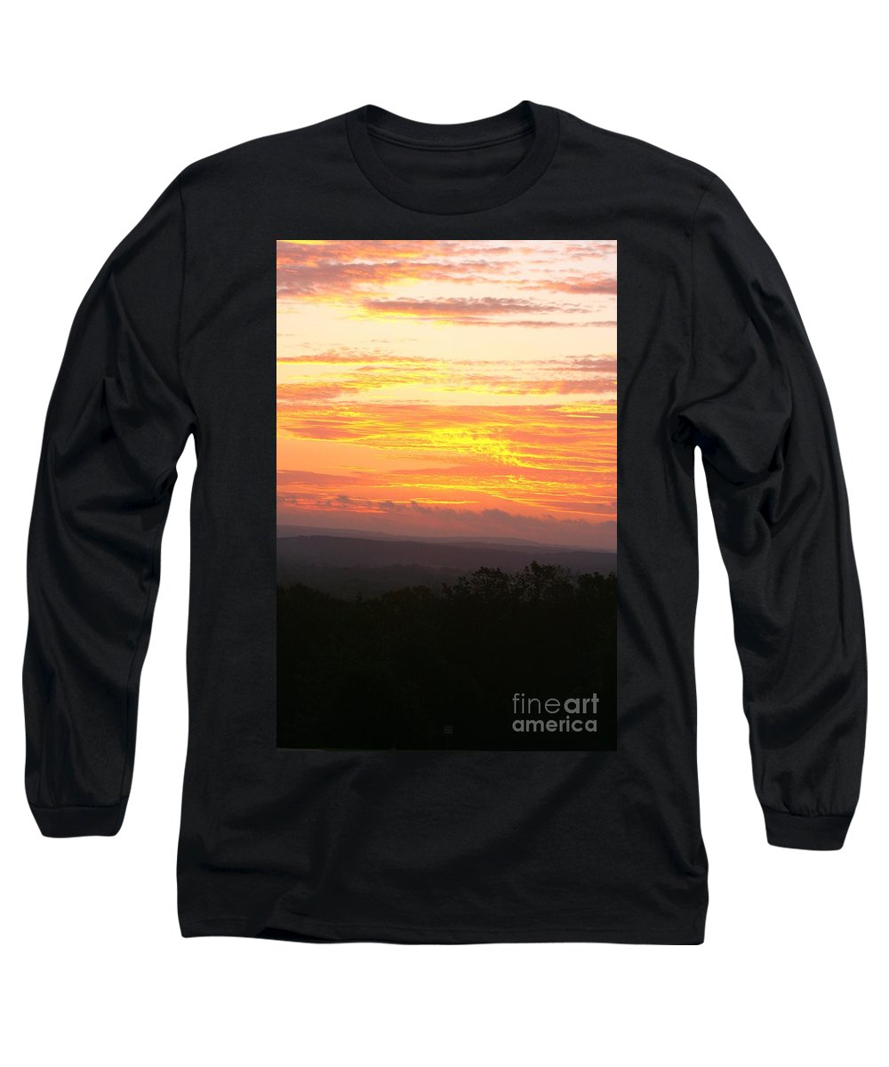 Sunrise Long Sleeve T-Shirt featuring the photograph Flaming Autumn Sunrise by Nadine Rippelmeyer