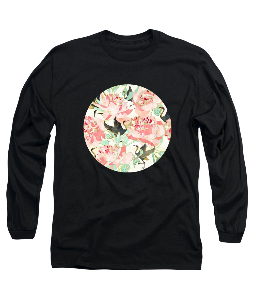Floral Long Sleeve T-Shirt featuring the digital art Floral Cranes by Spacefrog Designs