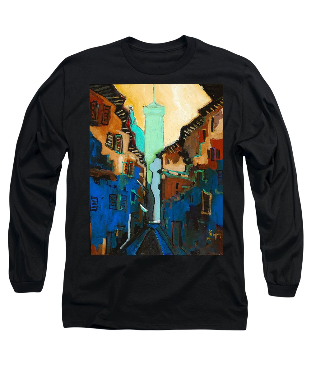 Florence Long Sleeve T-Shirt featuring the painting Florence Street Study by Kurt Hausmann