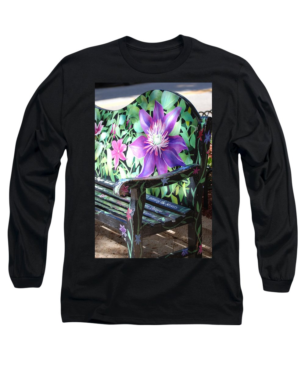 Macro Long Sleeve T-Shirt featuring the photograph Flower Bench by Rob Hans