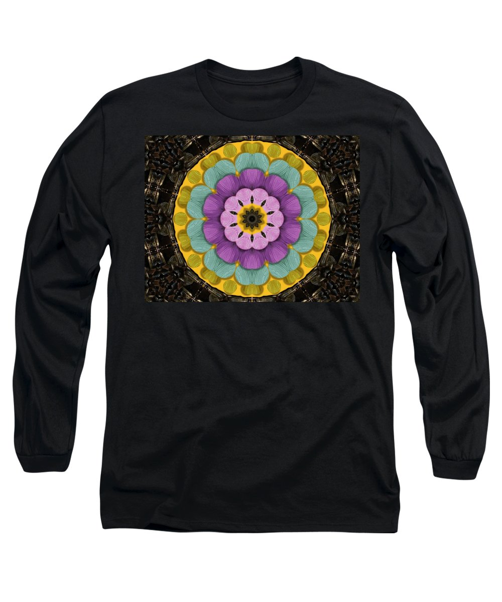 Flower Long Sleeve T-Shirt featuring the mixed media Flower In Paradise by Pepita Selles