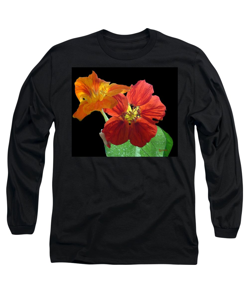 Nasturtiums Long Sleeve T-Shirt featuring the painting Flowers For Ebie by RC deWinter