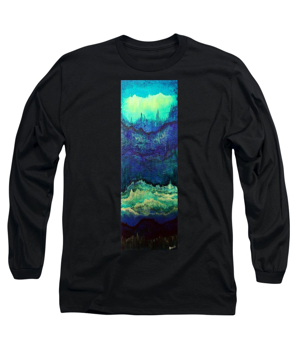 Blue Long Sleeve T-Shirt featuring the painting For Linda by Shadia Derbyshire