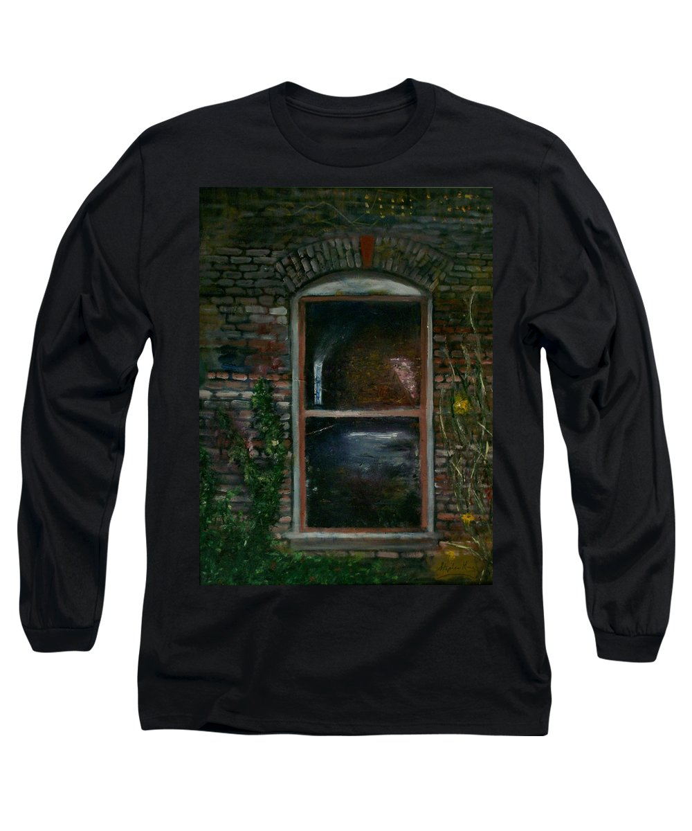 Landscape Long Sleeve T-Shirt featuring the painting For Rent by Stephen King