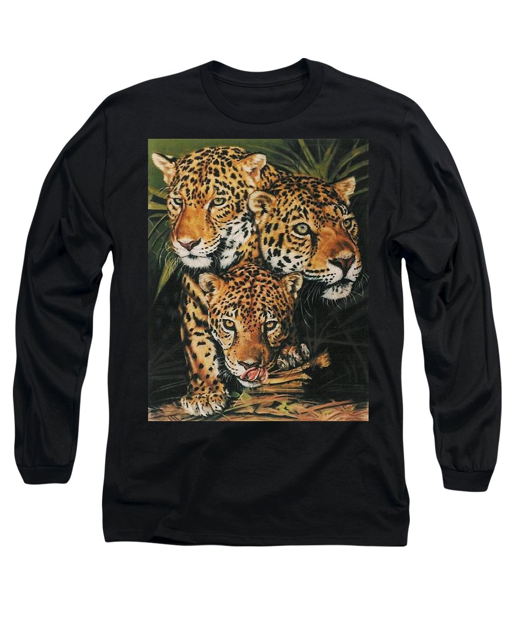 Jaguar Long Sleeve T-Shirt featuring the pastel Forest Jewels by Barbara Keith