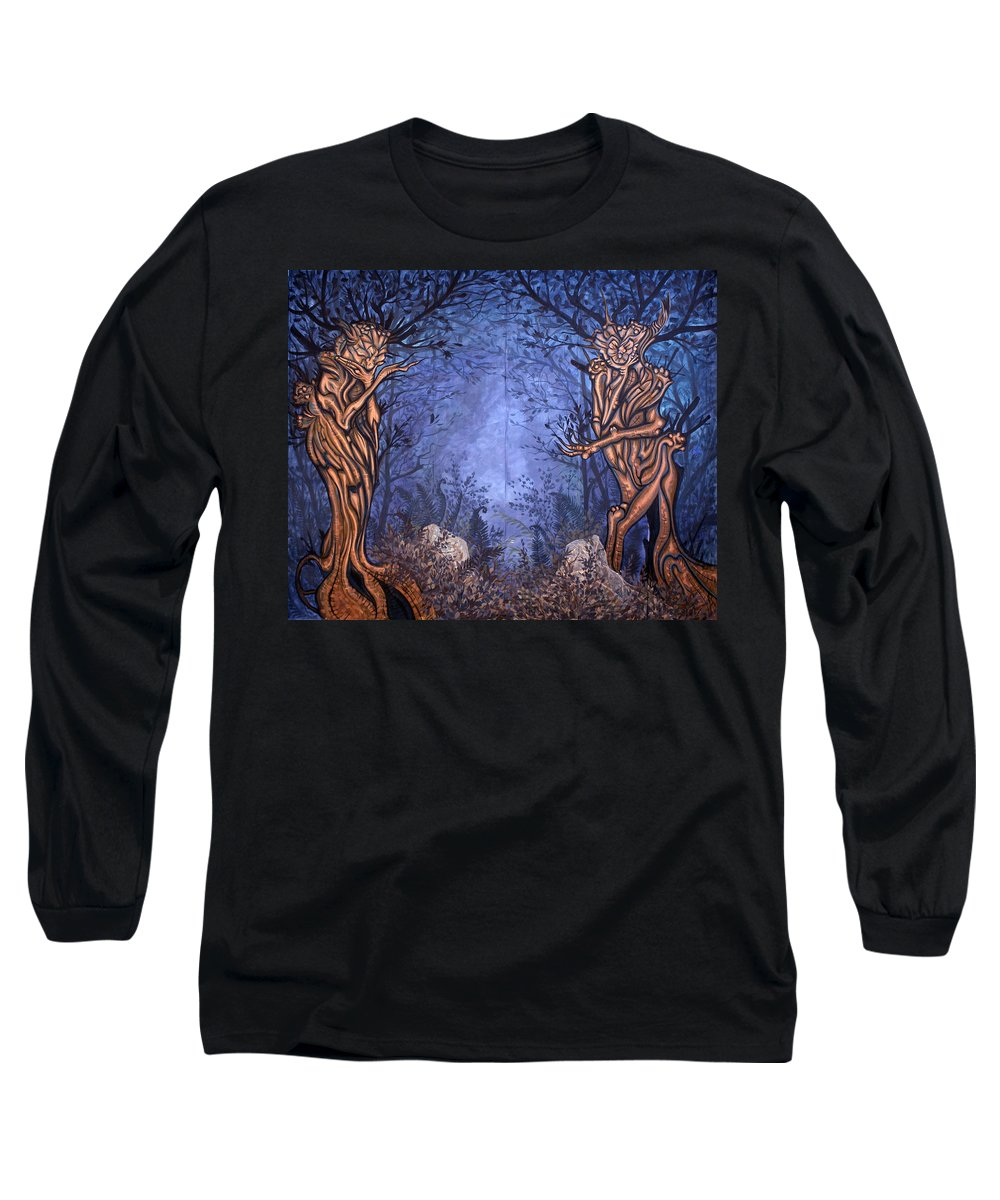 Mystic Long Sleeve T-Shirt featuring the painting Forest by Judy Henninger
