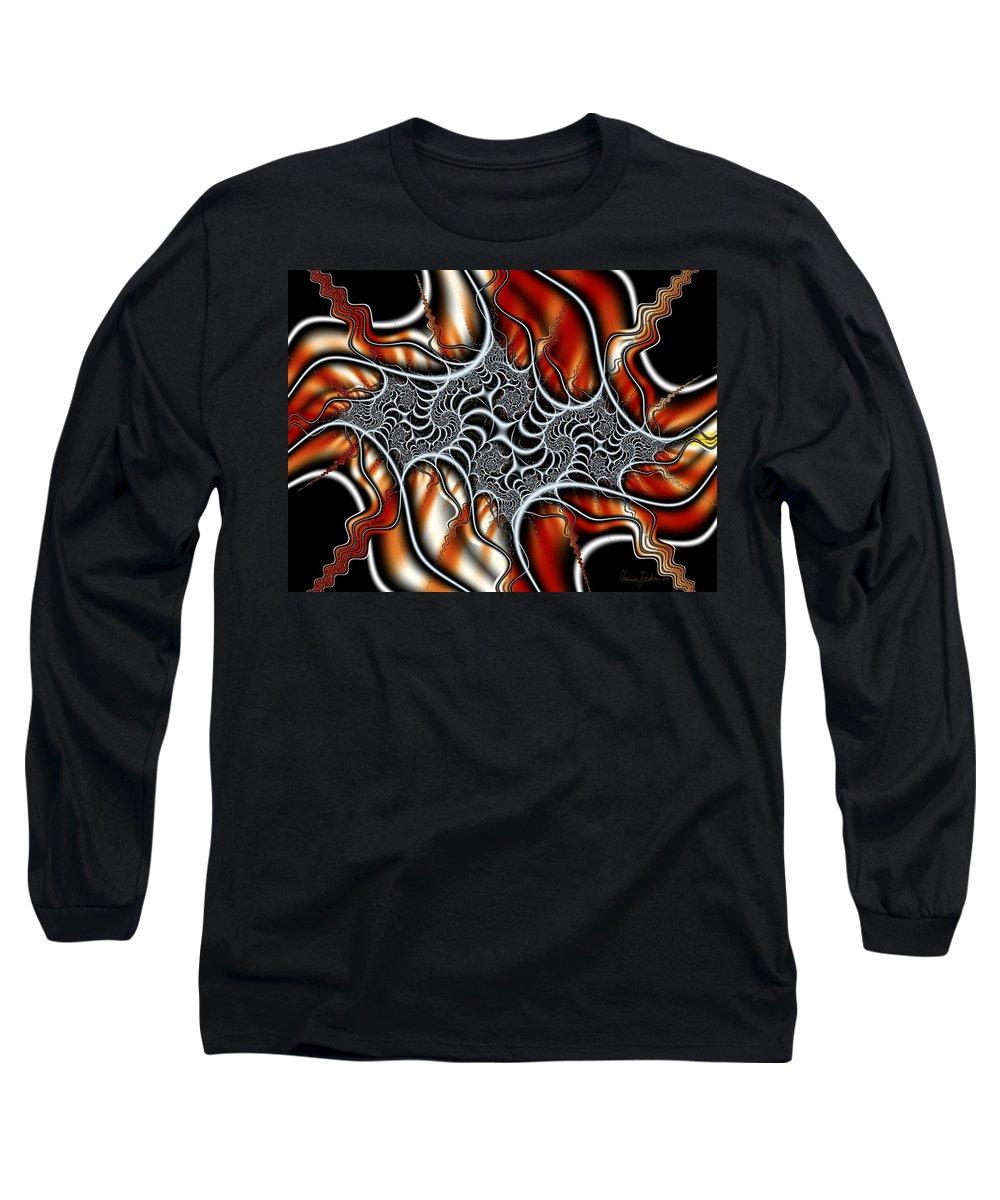 Veins Strings Lines Long Sleeve T-Shirt featuring the digital art Fractal 3 by Veronica Jackson