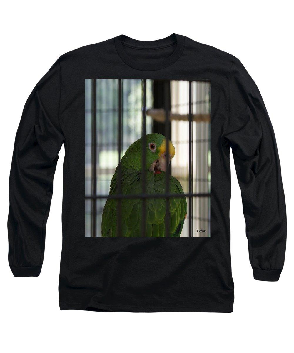 Parrot Long Sleeve T-Shirt featuring the photograph Framed by Shelley Jones
