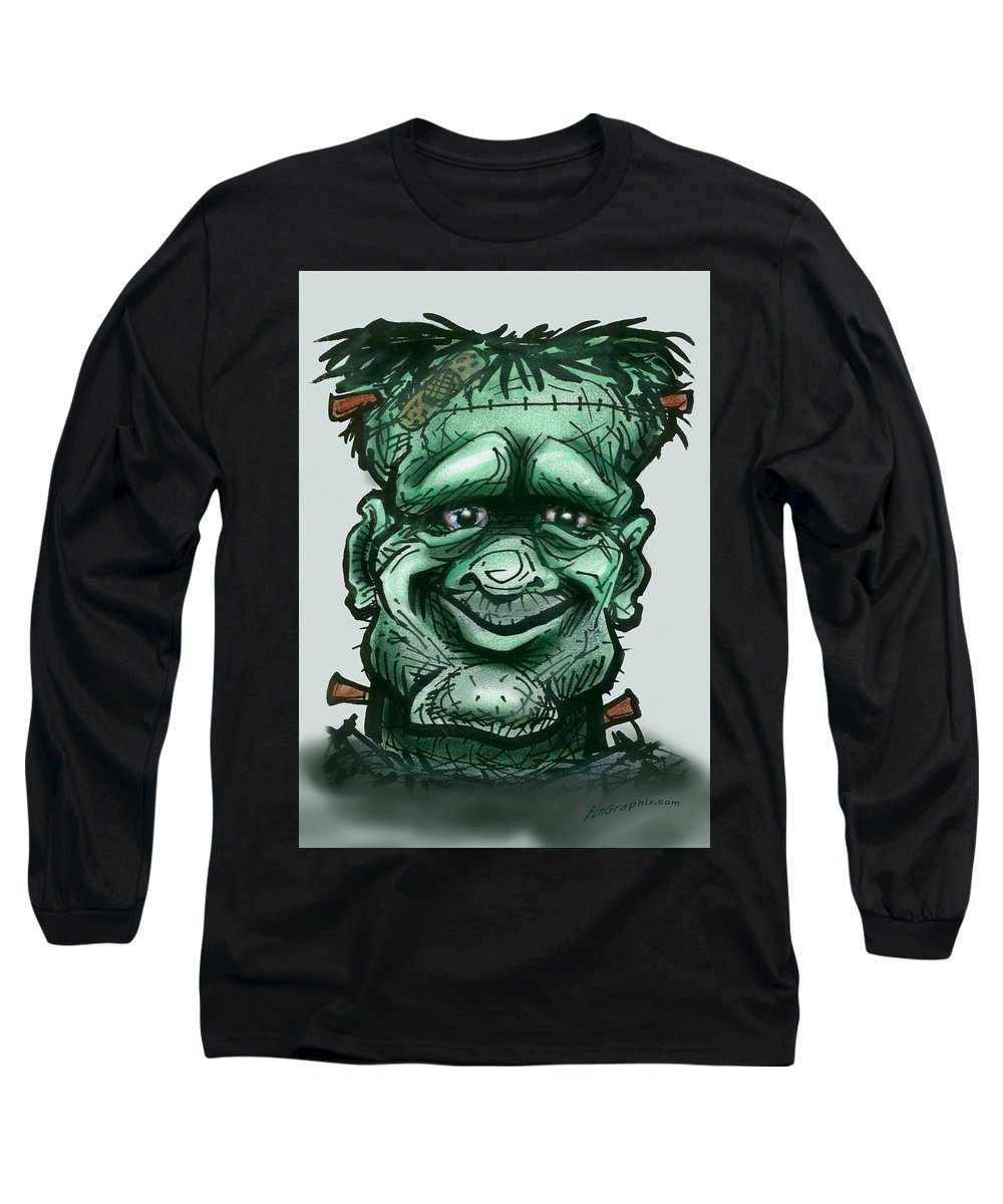 Frankenstein Long Sleeve T-Shirt featuring the greeting card Frankenstein by Kevin Middleton