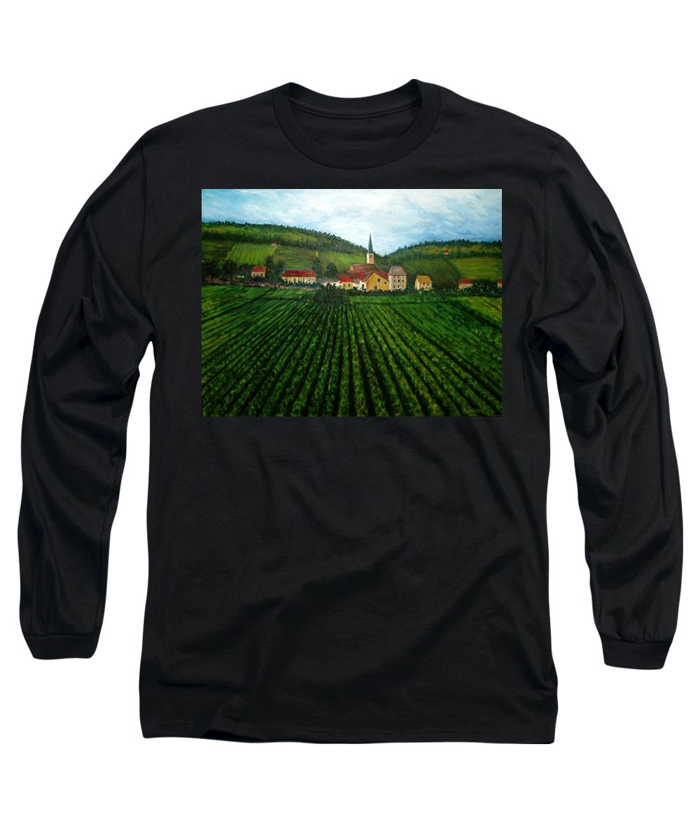 Acrylic Long Sleeve T-Shirt featuring the painting French Village In The Vineyards by Nancy Mueller