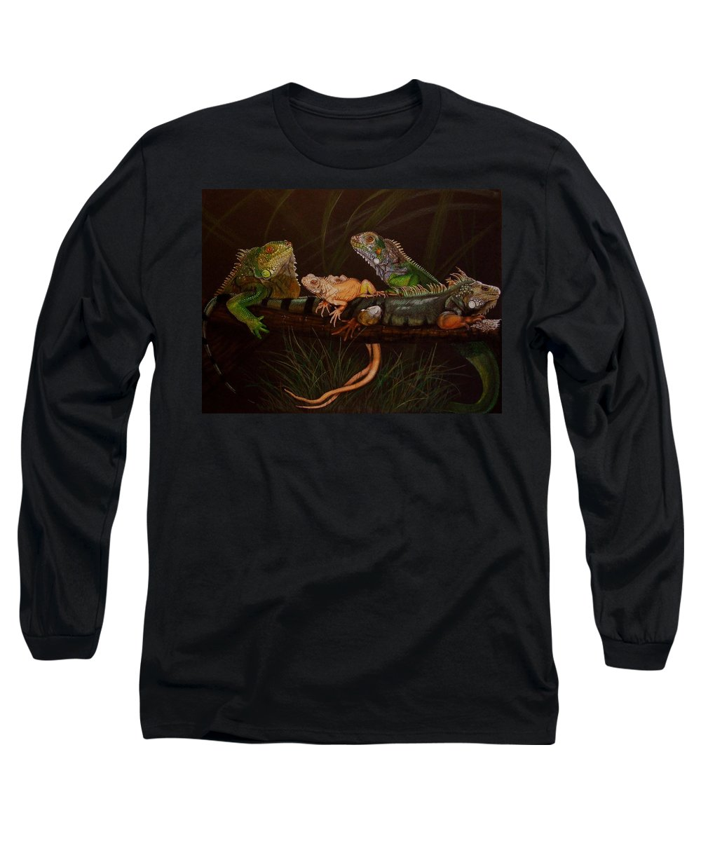 Iguana Long Sleeve T-Shirt featuring the drawing Full House by Barbara Keith
