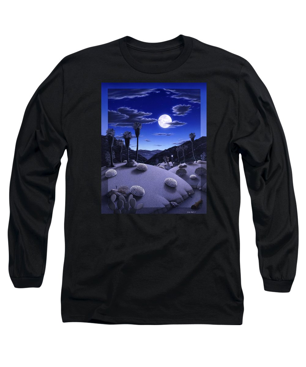 Desert Long Sleeve T-Shirt featuring the painting Full Moon Rising by Snake Jagger