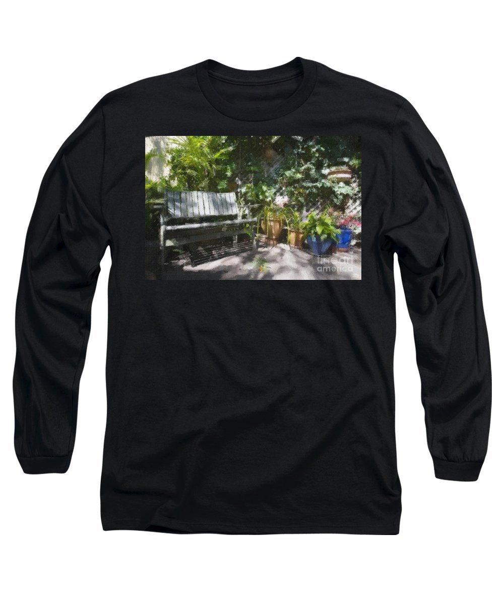 Garden Bench Flowers Impressionism Long Sleeve T-Shirt featuring the photograph Garden Bench by Avalon Fine Art Photography