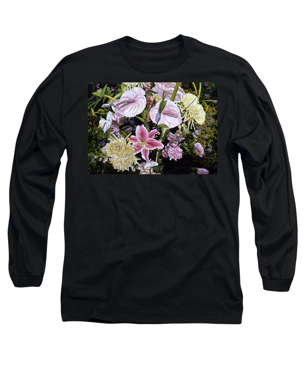 Watercolor Long Sleeve T-Shirt featuring the painting Garden Song by Teri Starkweather