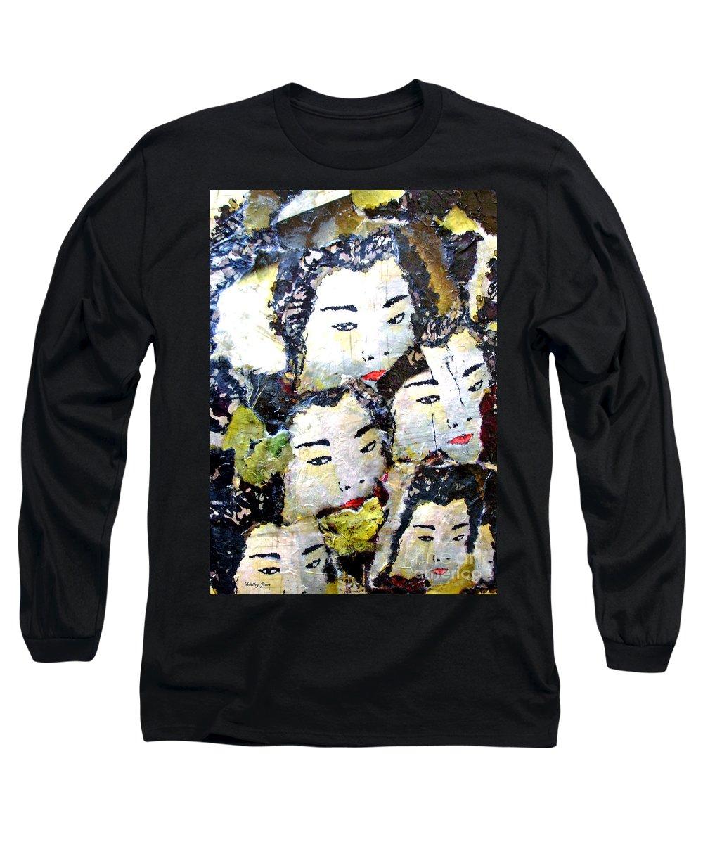 Geisha Girls Long Sleeve T-Shirt featuring the mixed media Geisha Girls by Shelley Jones