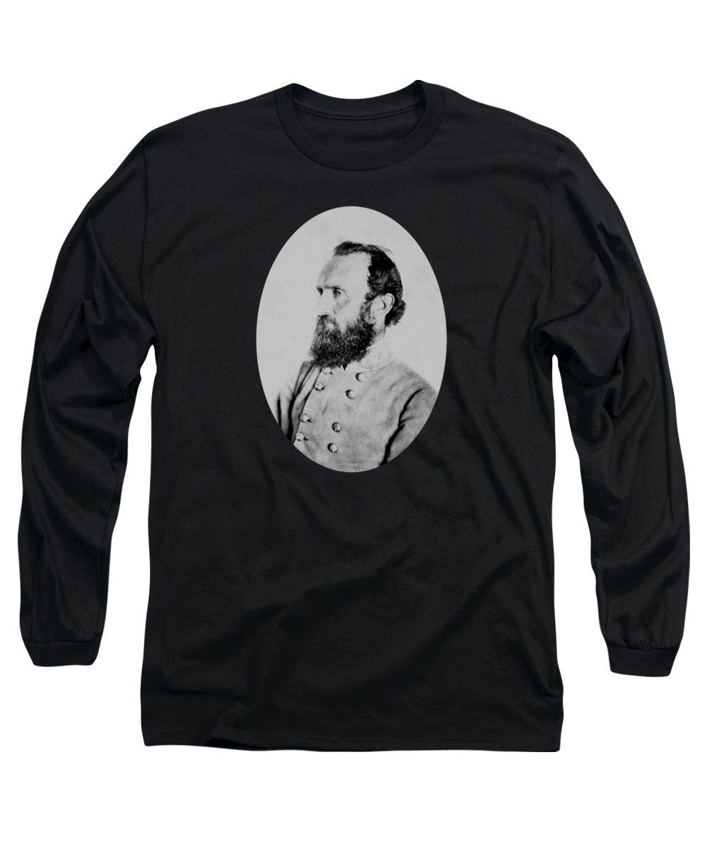 Stonewall Jackson Long Sleeve T-Shirt featuring the photograph General Thomas Stonewall Jackson - Two by War Is Hell Store
