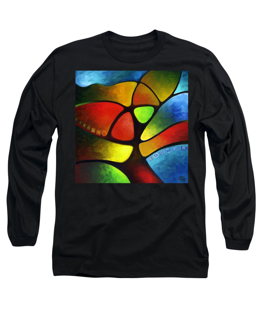 Tree Long Sleeve T-Shirt featuring the painting Geometree by Sally Trace