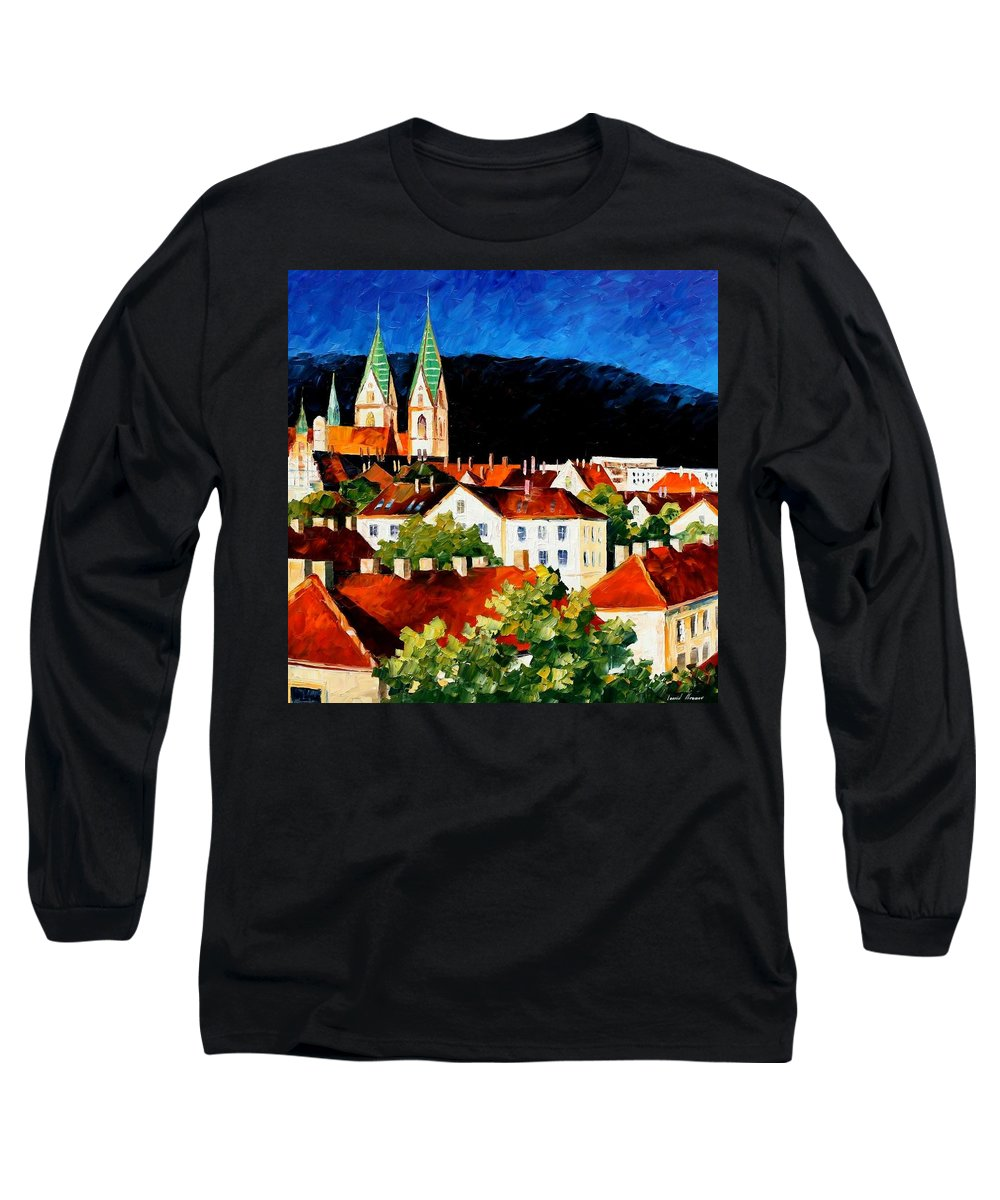 City Long Sleeve T-Shirt featuring the painting Germany - Freiburg by Leonid Afremov