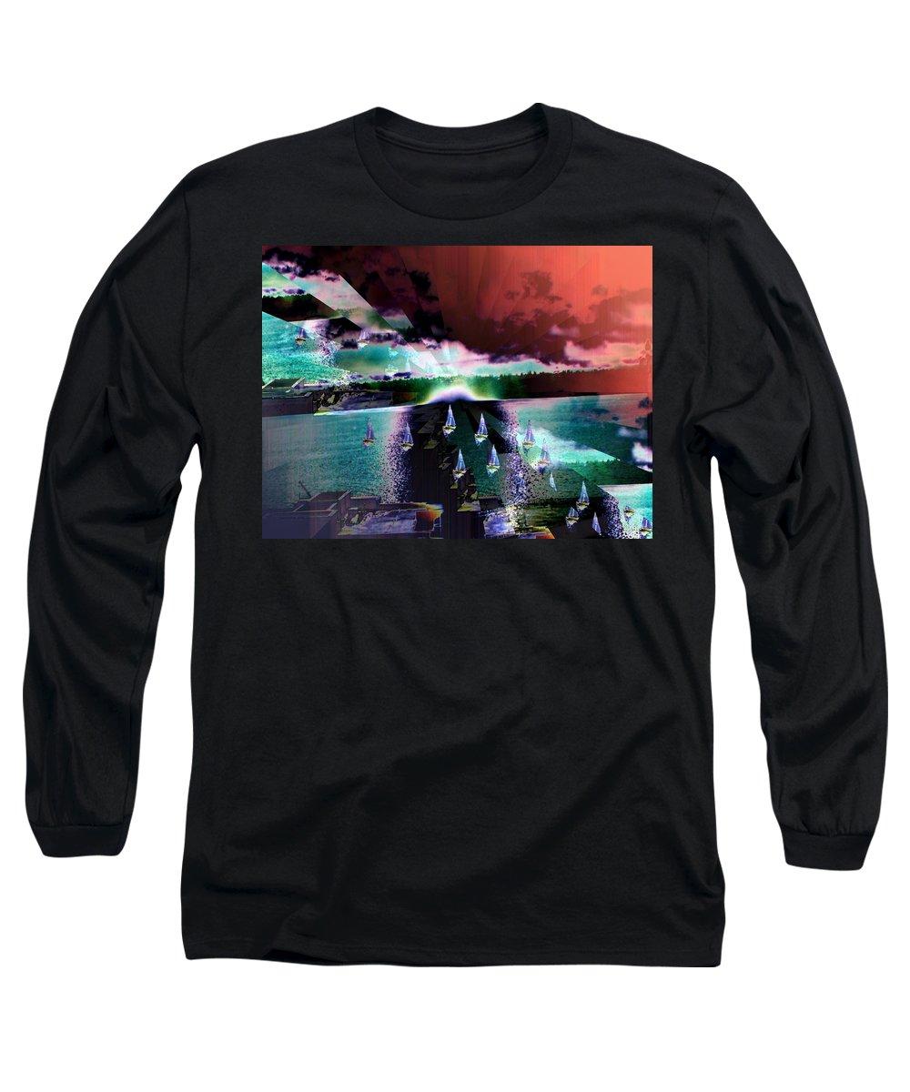 Seattle Long Sleeve T-Shirt featuring the digital art Ghost Regatta by Tim Allen