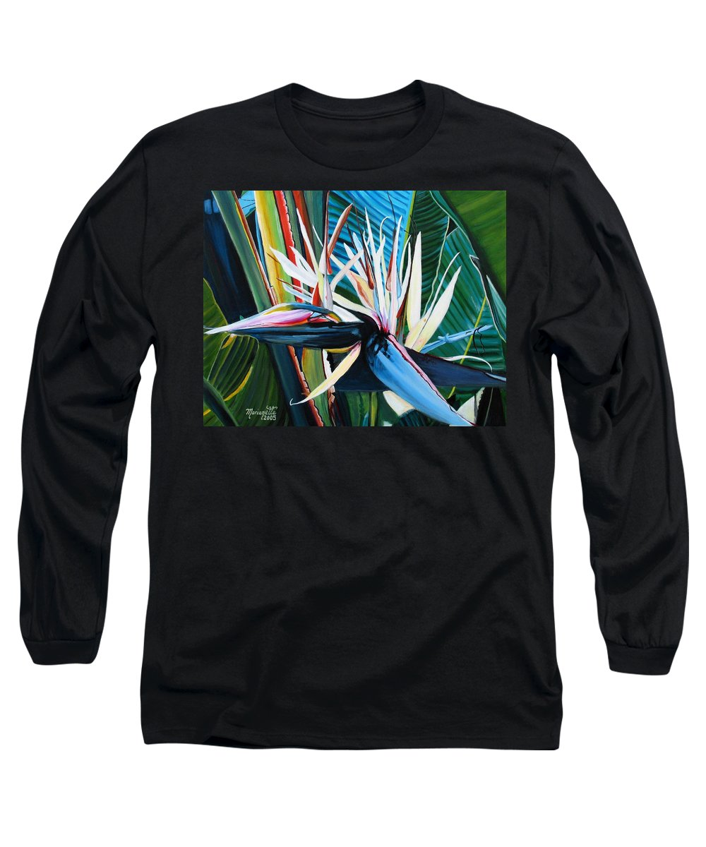 Bird Long Sleeve T-Shirt featuring the painting Giant Bird Of Paradise by Marionette Taboniar