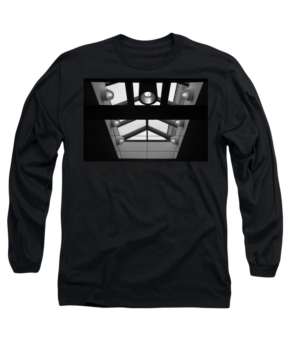 Black And White Long Sleeve T-Shirt featuring the photograph Glass Sky Lights by Rob Hans