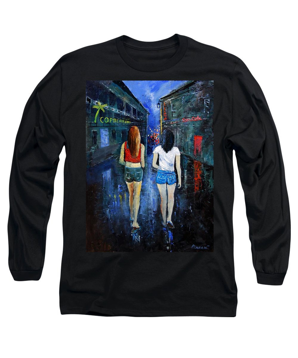 Girl Long Sleeve T-Shirt featuring the painting Going Out Tonight by Pol Ledent