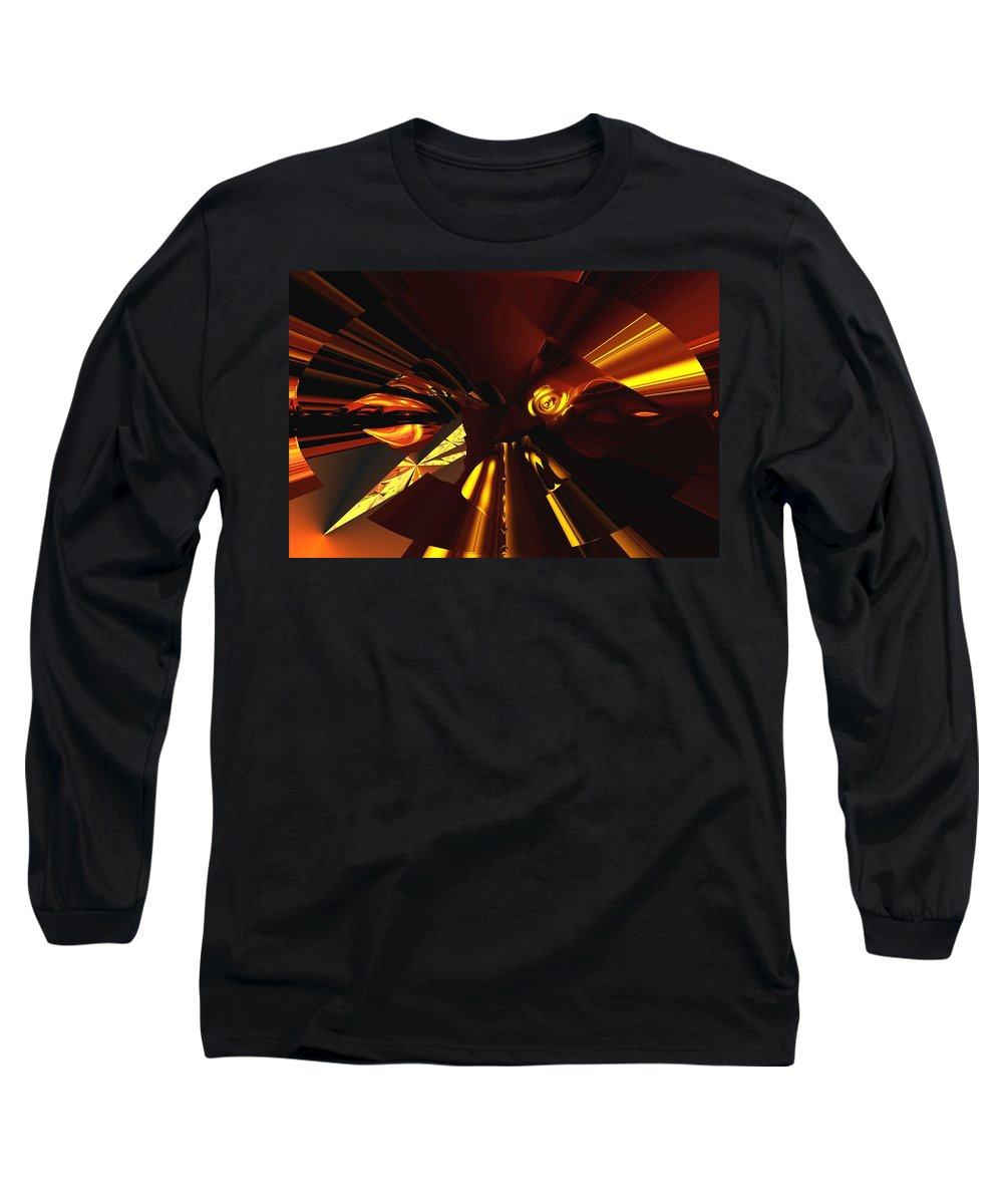 Abstract Long Sleeve T-Shirt featuring the digital art Golden Brown Abstract by David Lane