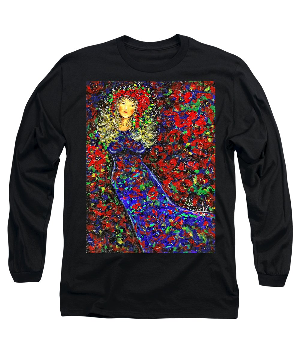 Woman Long Sleeve T-Shirt featuring the painting Golden Girl by Natalie Holland