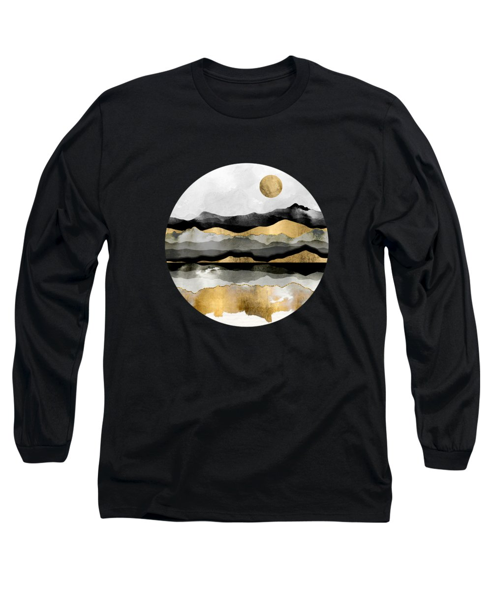 Gold Long Sleeve T-Shirt featuring the digital art Golden Spring Moon by Spacefrog Designs