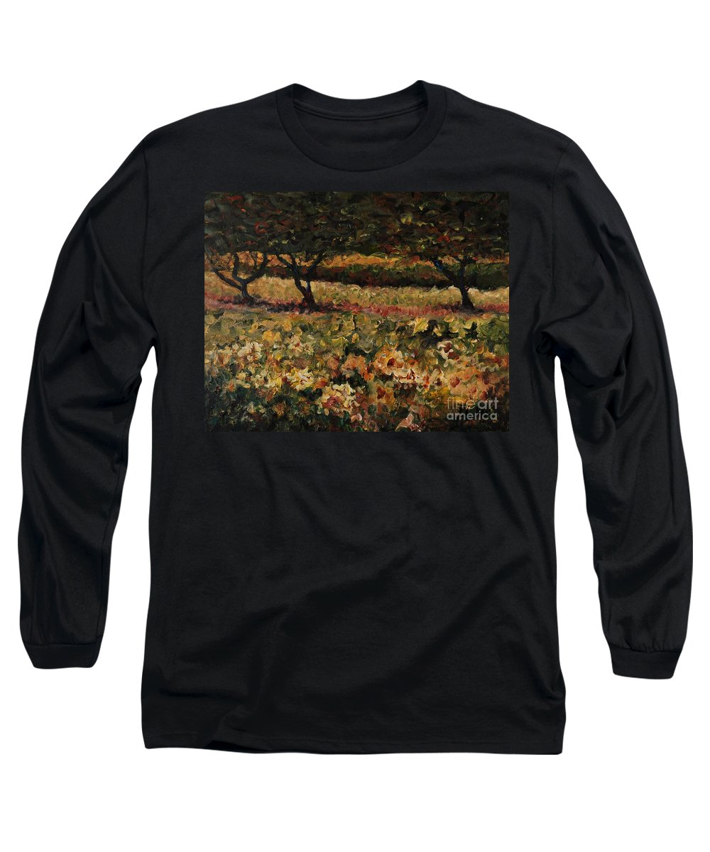 Landscape Long Sleeve T-Shirt featuring the painting Golden Sunflowers by Nadine Rippelmeyer