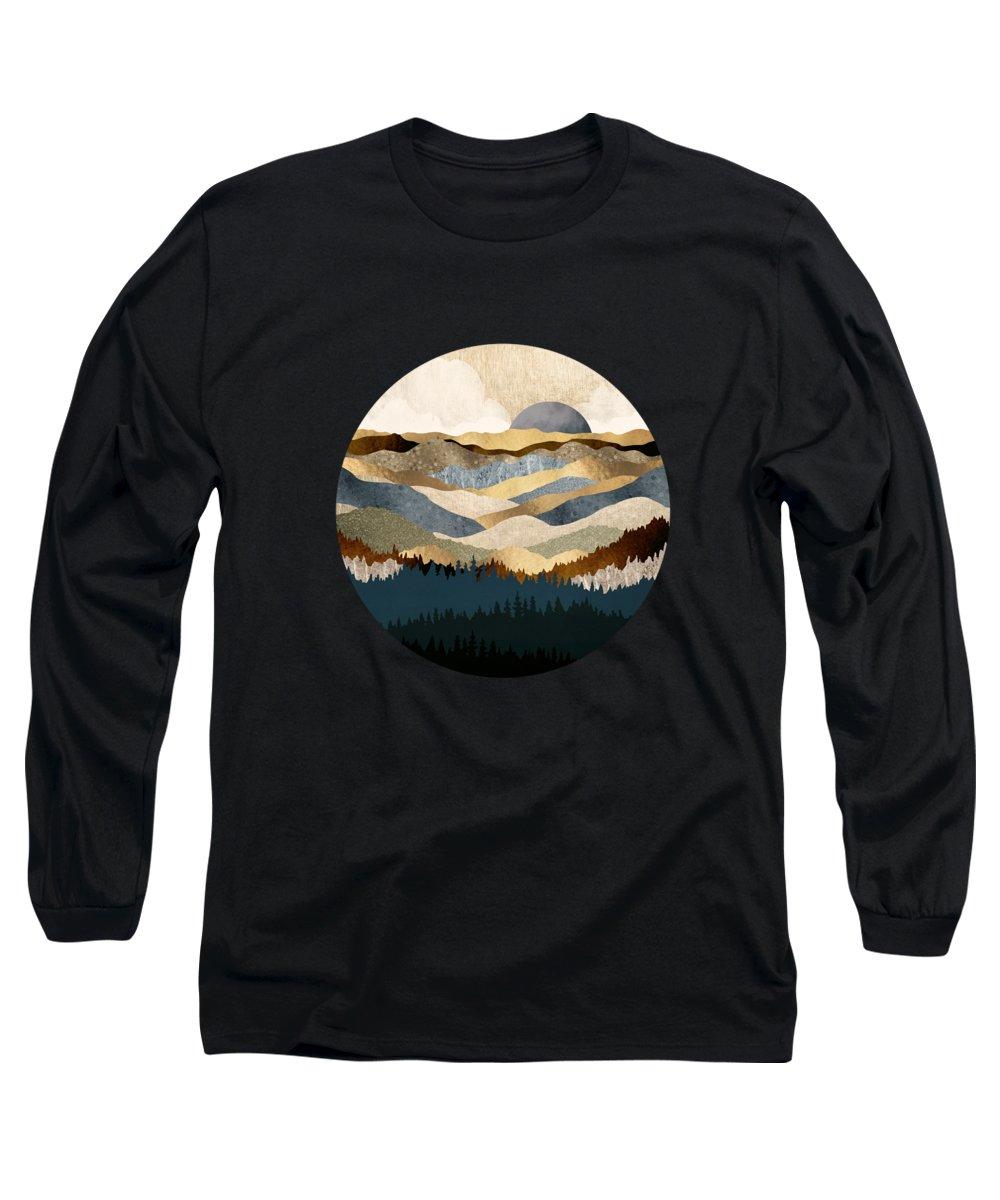 Golden Long Sleeve T-Shirt featuring the digital art Golden Vista by Spacefrog Designs