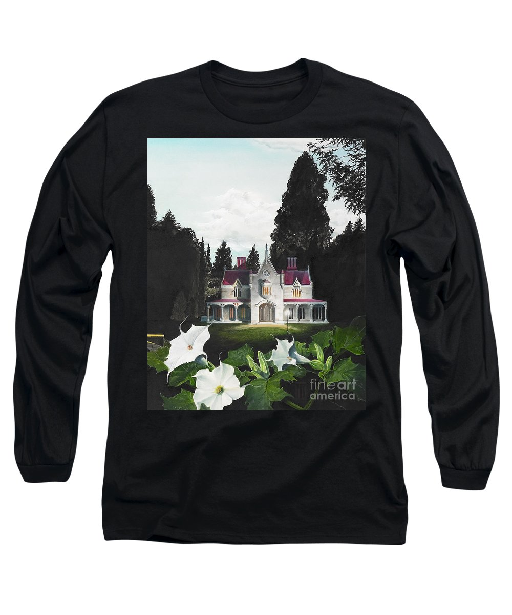 Fantasy Long Sleeve T-Shirt featuring the painting Gothic Country House Detail From Night Bridge by Melissa A Benson