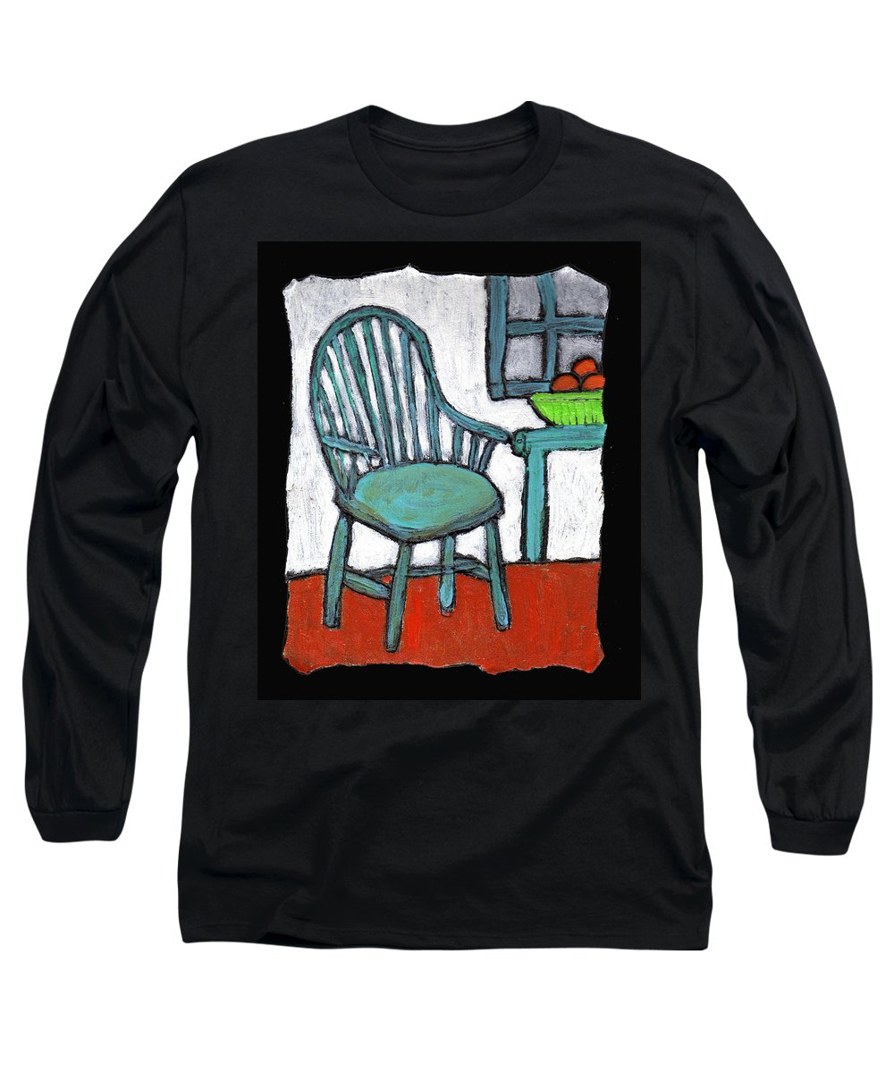 Chair Long Sleeve T-Shirt featuring the painting Grampa's Empty Chair by Wayne Potrafka