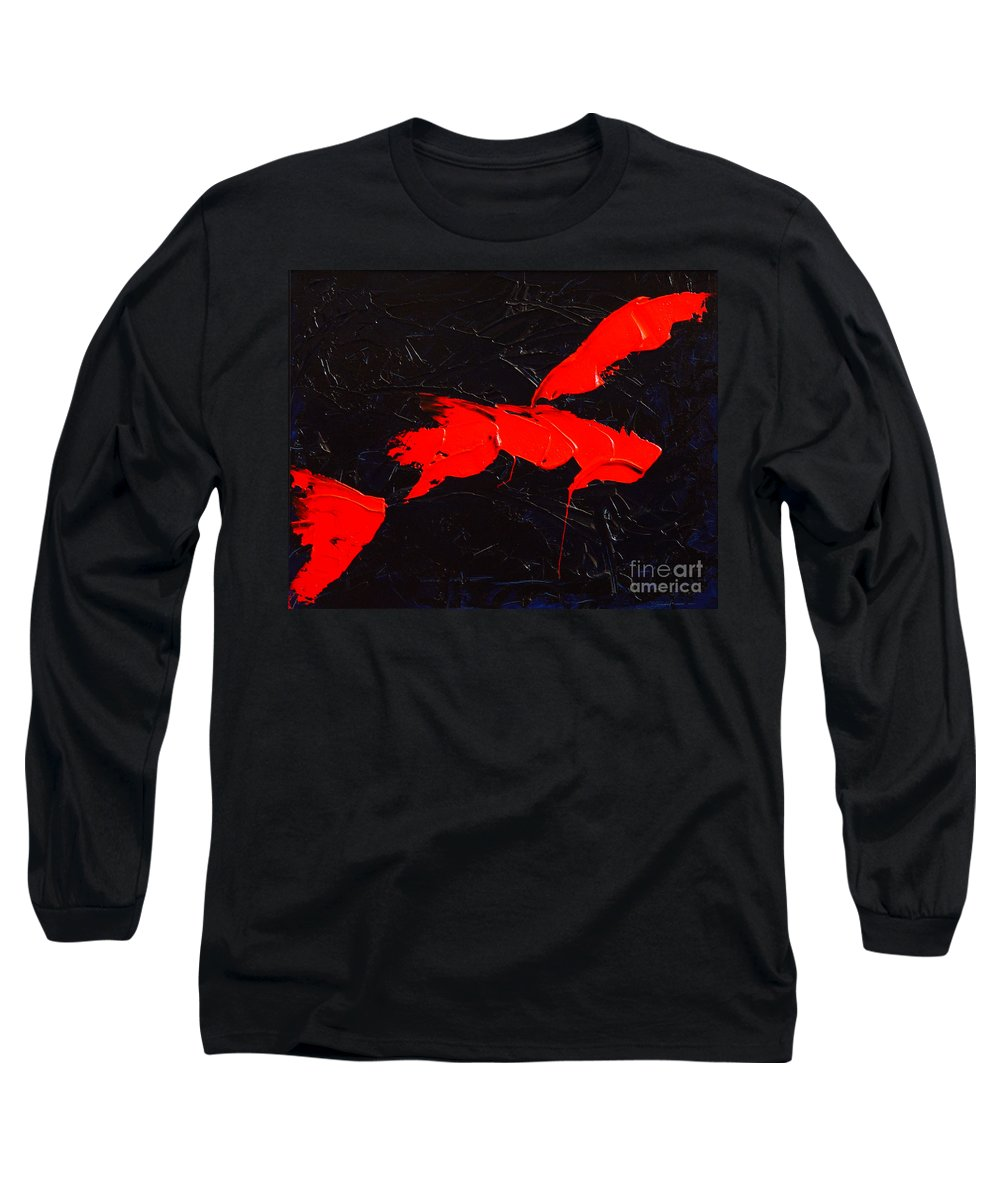 Abstract Long Sleeve T-Shirt featuring the painting Grandma I by Dean Triolo