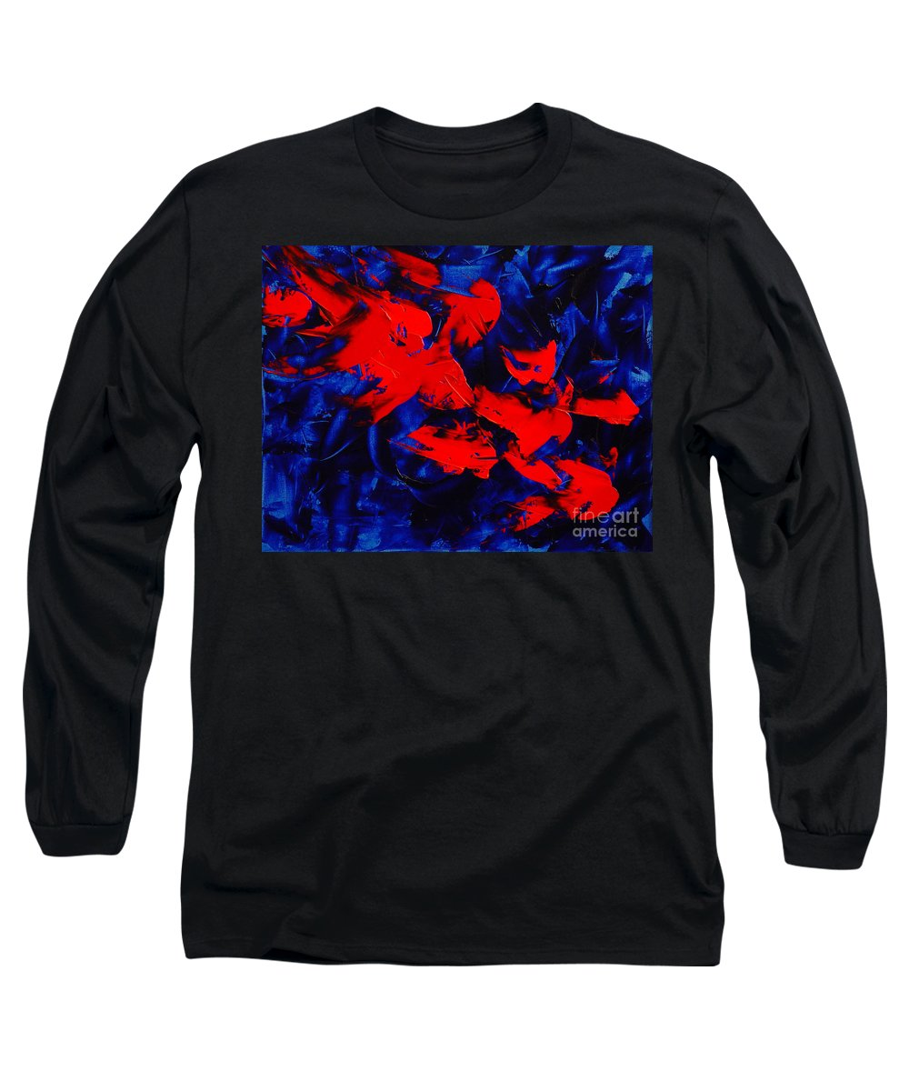 Abstract Long Sleeve T-Shirt featuring the painting Grandma II by Dean Triolo