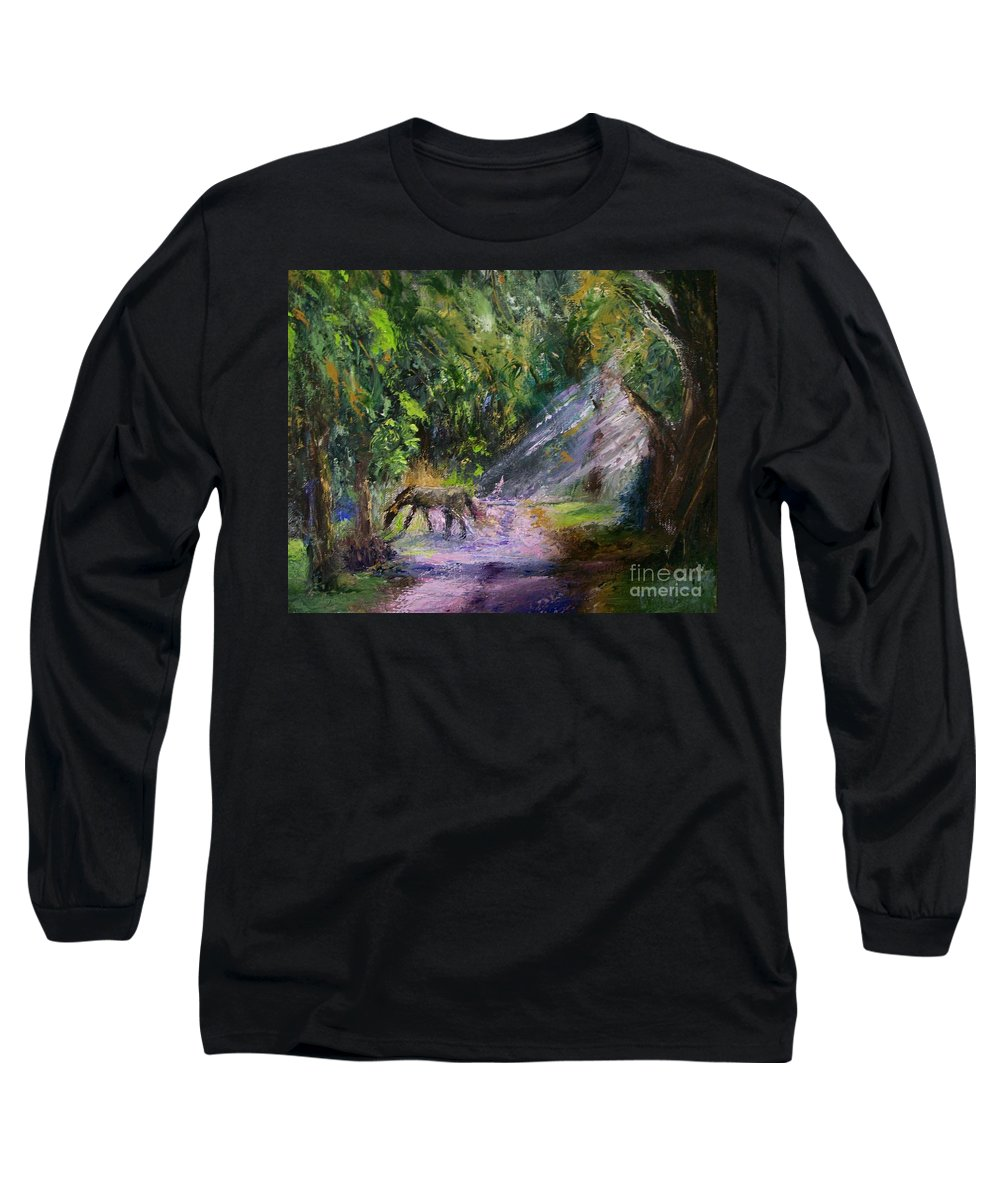 Landscape Long Sleeve T-Shirt featuring the painting Grazin' In The Grass by Stephen King