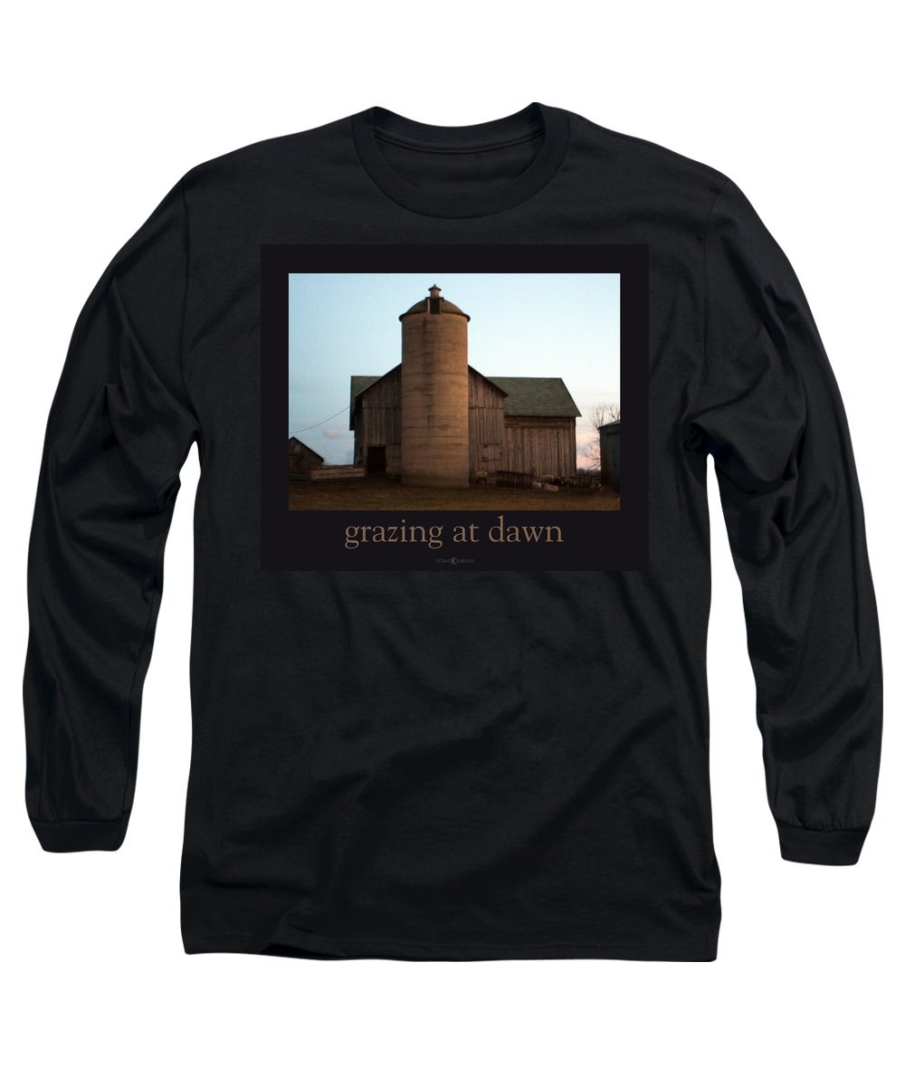 Barn Long Sleeve T-Shirt featuring the photograph Grazing At Dawn by Tim Nyberg