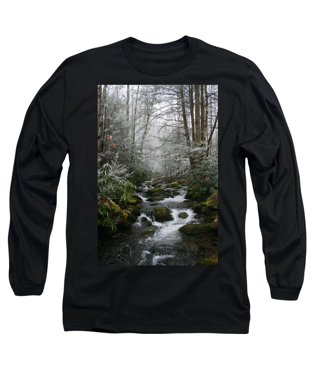 Green Snow Tree Trees Winter Stream River Creek Water Stone Rock Flow Boulder Forest Woods Cold Long Sleeve T-Shirt featuring the photograph Green And White by Andrei Shliakhau